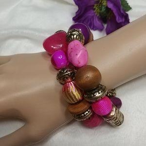 NWT ERICA LYONS Fuscia Pink & Purple Bracelet
